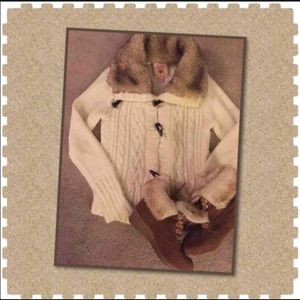 Other - 💕Girls Cardigan with Fur Collar💕 Size 12